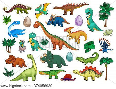 Dinosaurs Cartoon Set With Cute Dino Animals, Babies In Eggs And Palm Trees. Funny Triceratops, Steg