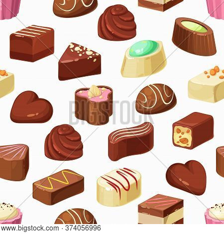Candies Vector Seamless Pattern Of Chocolate, Truffle And Praline Desserts. Sweet Food Background Of