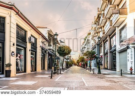 Volos, Thessaly, Greece - May 27th, 2018: View Of The Street Spiridi At The Commercial Center Of Vol