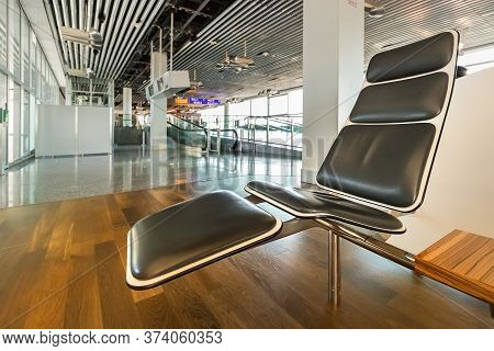 Frankfurt, Germany - July 3th, 2018: Close Up Of Recliner Seat In The Waiting Hall At Frankfurt Main