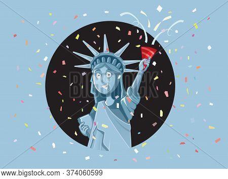 Liberty Statue Celebrating Independence Day Vector Cartoon