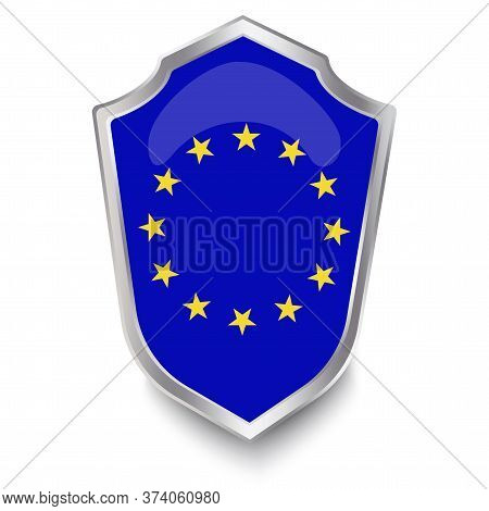 The Medieval Flag Of The European Union. Eu Shield Emblem. A Symbol Of The Protection Of European St