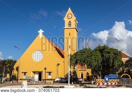 Kralendijk, Bonaire - January 27th, 2018: The St. Bernard Church, A Catholic Church At Kralendijk Th