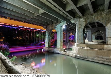 Larissa, Thessaly, Greece - May 22th, 2018: View Of Under The Pinios Bridge At Night With Neon Light