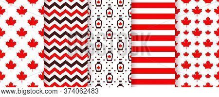 Canada Seamless Pattern. Vector. Happy Canada Day Textures With Maple Leaf, Stripes, Syrup And Zigza