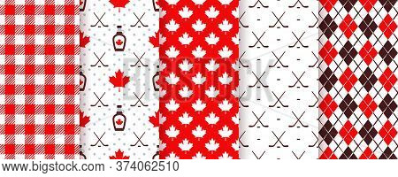 Canada Seamless Pattern. Vector. Backgrounds With Maple Leaf, Hockey Sticks, Syrup, Rhombus And Chec