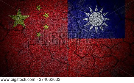 3d Rendering Of Dual China And Taiwan Flags Painted On Concrete Wall In Grunge Effect With Deep Crac