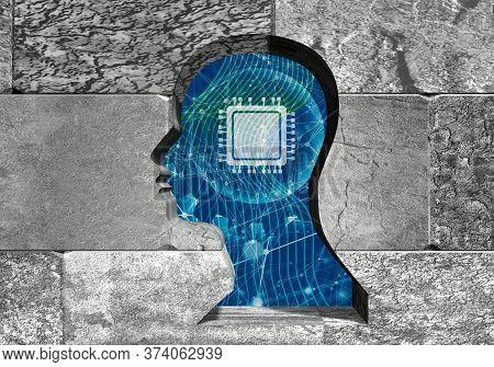 Man Head As Key Hole In The Concrete Blocks Wall. 3d Rendering. Algorithm Binary, Data Code, Decrypt