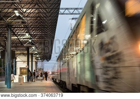 Larissa, Greece - June 11th, 2018:the Suburban Greek Train Is Leaving The Passengers Platform In The