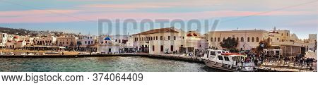 Mykonos, Greece - October 12th, 2018: Panoramic View Of The City Waterfront Plenty Of Tourists In My