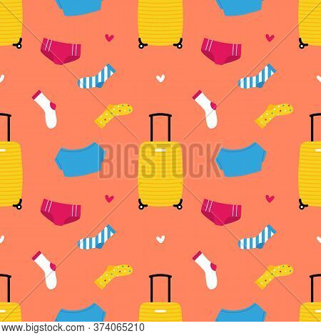 Packing Suitcase Vector Seamless Pattern Background With Luggage, Clothes, Panties, T-shirt, Socks I