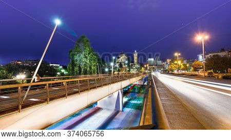 Larissa, Thessaly, Greece - May 22th, 2018: View Of The Pinios Bridge At Night On The Grigoriou Lamp