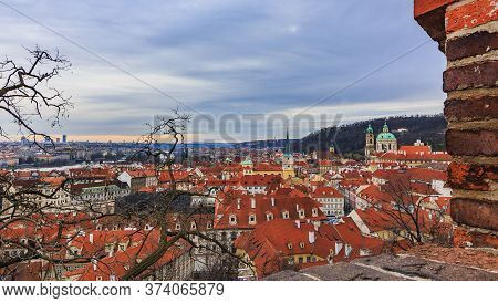 Traditional Red Roofs In Old Town Viewed From The Prague Castle, Czech Republic