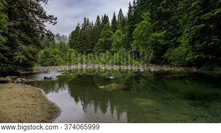 Panorama With Pine Trees Reflecting In A Lake In Lynn Canyon Park Forest On A Cloudy Dat