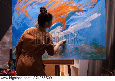 Woman Painting An Abstract Masterpiece In Art Workshop. Modern Artwork Paint On Canvas, Creative, Co