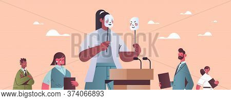 Woman Candidate Politician Covering Face Under Masks With Different Emotions Fake Feeling Election D