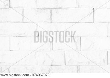 White Brick Wall Texture Background In Room At Subway. Brickwork