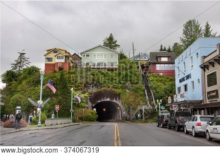 Ketchikan, Alaska, Usa - July 21th, 2017: A Street View Of The Tunnel At The Mountainside At Front S