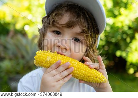 Close-up Portrait Of Cute Little Child Eating Yellow Sweet Corncob Corn