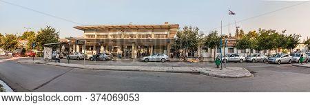 Larissa, Greece - June 11th, 2018: View Of The Facade Of The Larissa Train Station In Larissa City,