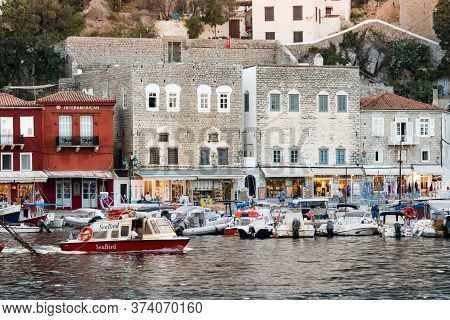 Hydra, Greece - October 4th, 2018: View Of The Waterfront And Their Commercial Center In Hydra, Gree