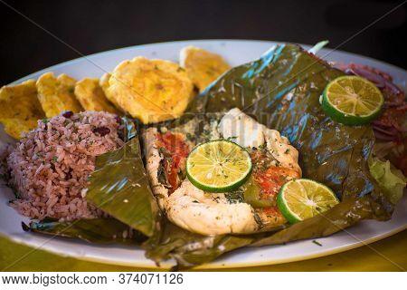 Nicaraguan Food, Fish On Dried Banana Leaf, Nicaraguan Gastronomy, Nicaraguan Dishes