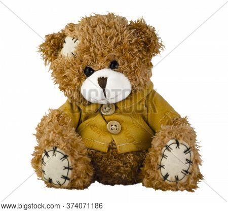 Teddy Bear Isolated On White Background. Soft Toy For Gift, Greeting Card, Packaging Or Mock Up.