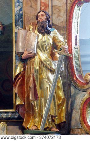 KLANJECKO JEZERO, CROATIA - NOVEMBER 06, 2013: Saint Paul, a statue on a high altar in the chapel of Saint George at the Lake in Klanjecko Jezero, Croatia