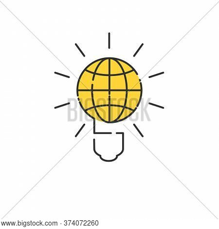 Illustration Of An Electric Light Bulb With A World Globe Linear Design. Conceptual Illustration. St