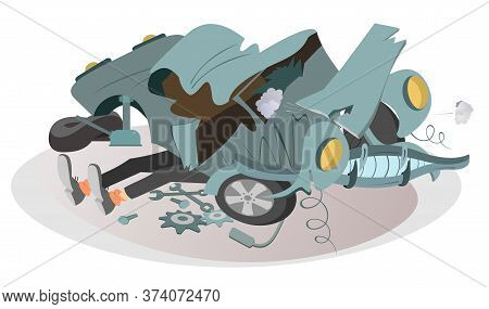 Mechanic Repairs A Car Illustration. Legs Of A Mechanic Sticking Out From Under A Wrecked Car Isolat