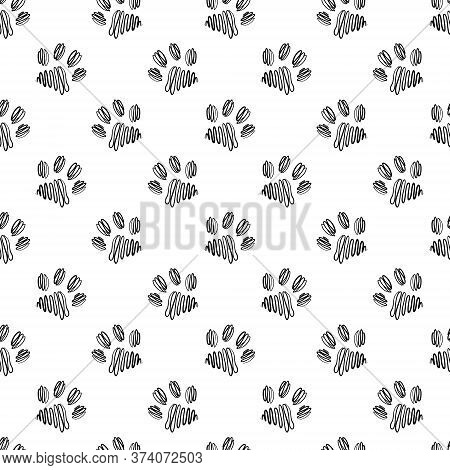 Seamless Vector Pattern With Paws On A White Isolated Background.