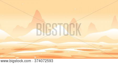 Martian Sand Dunes And Yellow Hills Game Background Tillable Horizontally, Orange Sand Hills With Ro