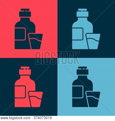 Pop Art Bottle Of Medicine Syrup And Dose Measuring Cup Solid Icon Isolated On Color Background. Vec