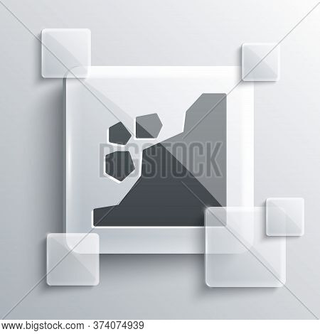 Grey Landslide Icon Isolated On Grey Background. Stones Fall From The Rock. Boulders Rolling Down A