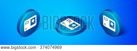 Isometric Action Extreme Camera Icon Isolated On Blue Background. Video Camera Equipment For Filming