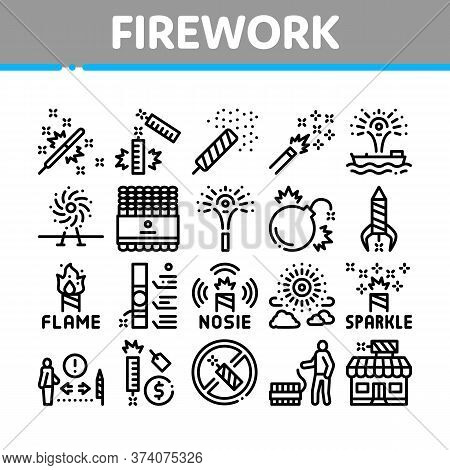 Firework Pyrotechnic Collection Icons Set Vector. Flash Rocket And Salute, Christmas Explosive Firew