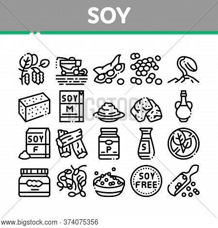 Soy Bean Food Product Collection Icons Set Vector. Agricultural Harvester Harvesting On Farm And Mil