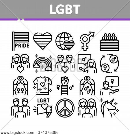 Lgbt Homosexual Gay Collection Icons Set Vector. Lgbt Community And Flag, Unicorn And Rainbow, Love
