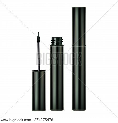 Eyeliner Brush And Container Cosmetics Set Vector. Collection Of Opened And Closed Eyeliner Package,