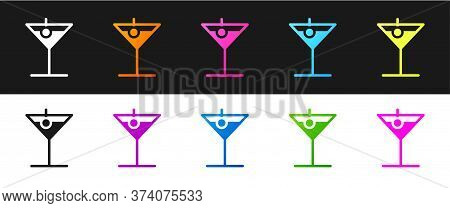 Set Martini Glass Icon Isolated On Black And White Background. Cocktail Icon. Wine Glass Icon. Vecto