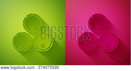 Paper Cut Wooden Barrels Icon Isolated On Green And Pink Background. Alcohol Barrel, Drink Container