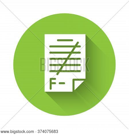 White Exam Paper With Incorrect Answers Survey Icon Isolated With Long Shadow. Bad Mark Of Test Resu