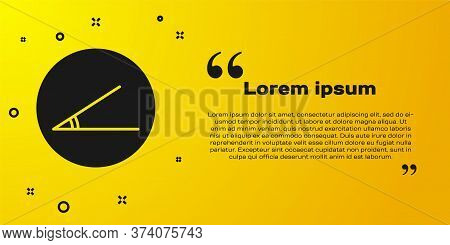 Black Acute Angle Of 45 Degrees Icon Isolated On Yellow Background. Vector Illustration