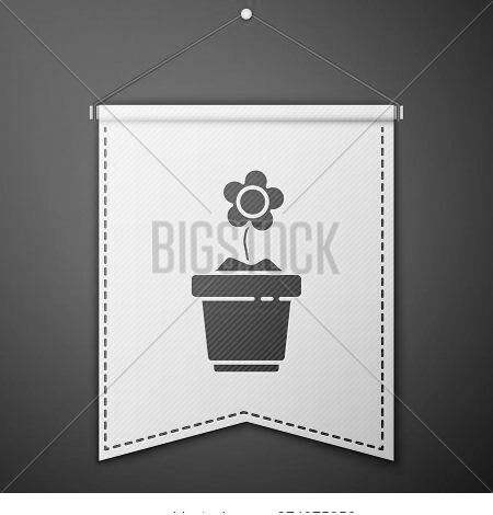 Blue Flower In Pot Icon Isolated On Blue Background. Plant Growing In A Pot. Potted Plant Sign. Whit