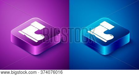 Isometric Waterproof Rubber Boot Icon Isolated On Blue And Purple Background. Gumboots For Rainy Wea