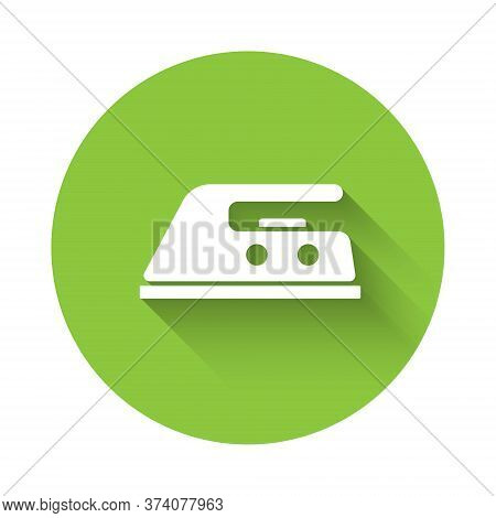 White Electric Iron Icon Isolated With Long Shadow. Steam Iron. Green Circle Button. Vector Illustra