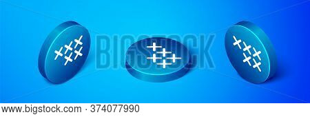 Isometric Adjustable Embroidery Hoop Icon Isolated On Blue Background. Thread And Needle For Embroid
