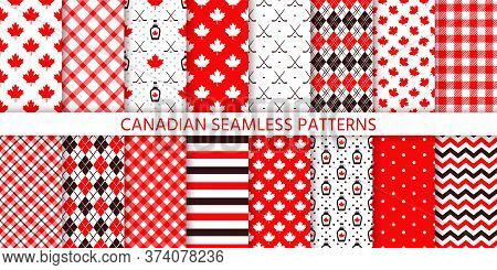 Canada Seamless Pattern. Vector. Backgrounds With Maple Leaf, Hockey Sticks, Syrup, Polka Dot, Rhomb