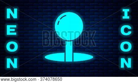 Glowing Neon Push Pin Icon Isolated On Brick Wall Background. Thumbtacks Sign. Vector Illustration