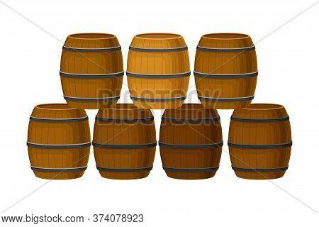 Rows Of Grape Juice In Wooden Barrels Storing In Cellar Vector Illustration